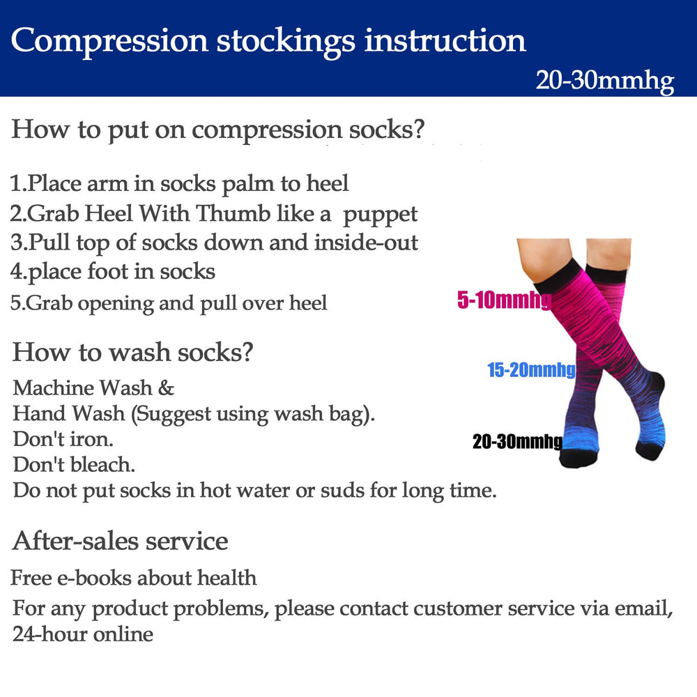 5-Pairs Gradient Compression Socks For Men & Women (20-25 mmHG)I ACTINPUT