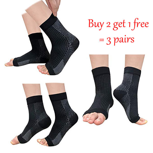 ACTINPUT Plantar Fasciitis Foot Compression Sock Sleeves with Cushioning - (3 Pairs)