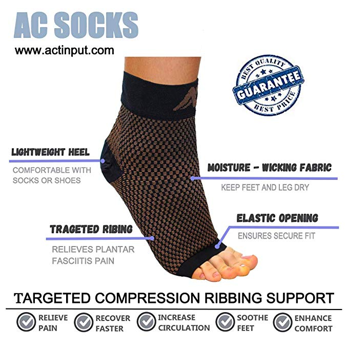 1 Pair AC Compression Foot Sleeves for Men & Women | Actinput