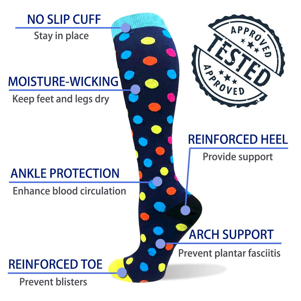 1-Pair Colorful Wave Point Print Compression Socks ( 20-30MMHG) | Actinput