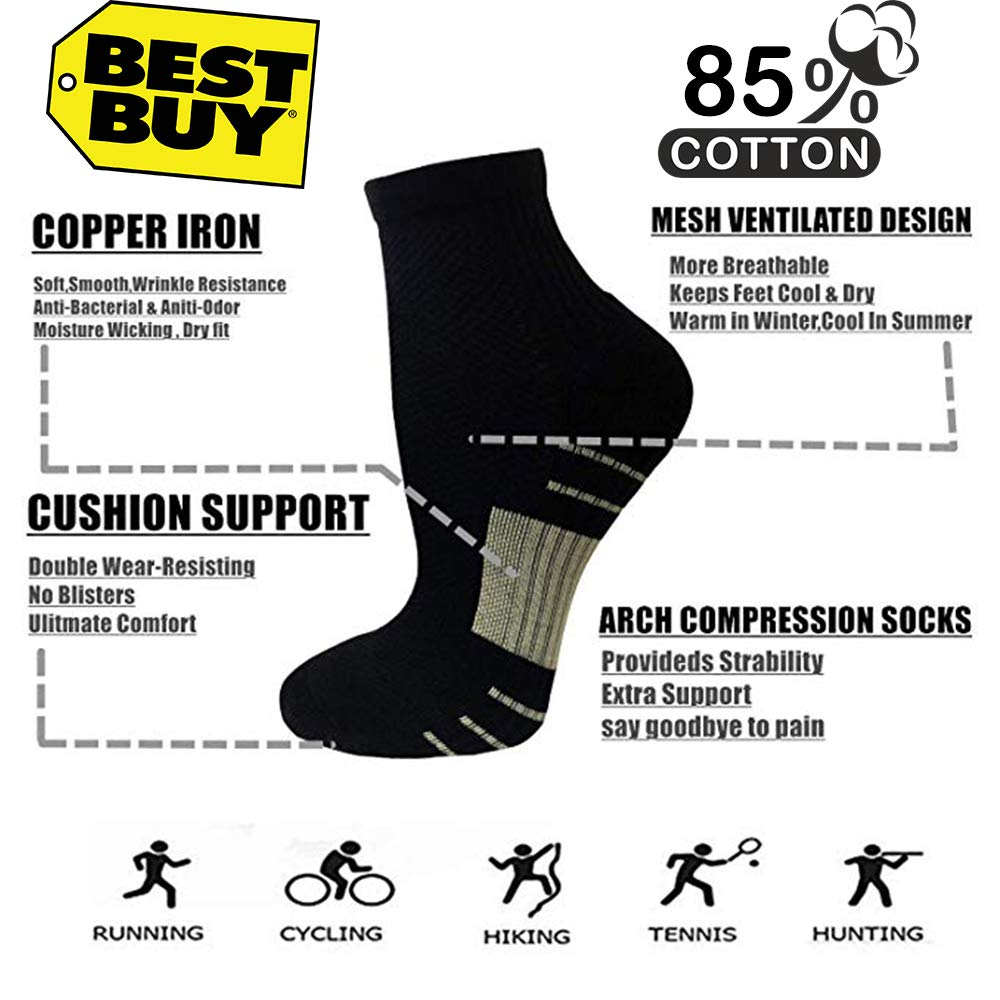5-Pairs Low Cut Copper Plantar Fasciitis  Compression Socks | Actinput