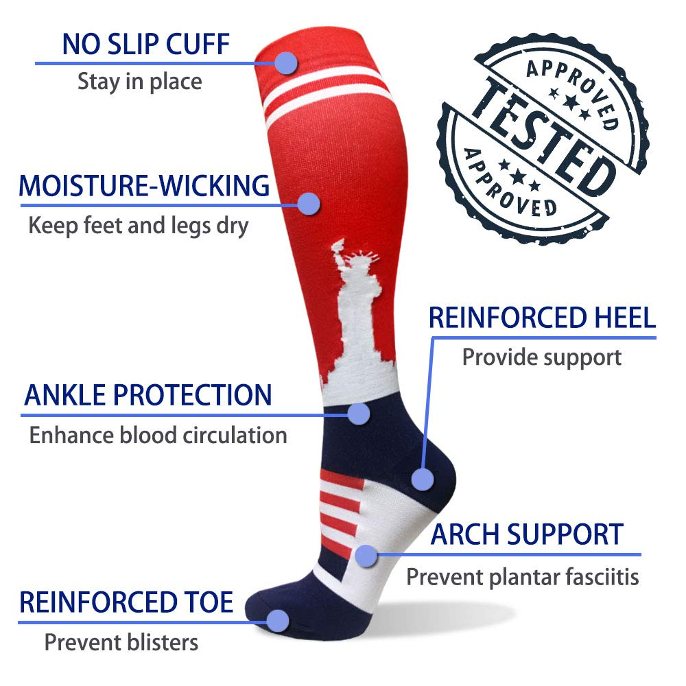 1-Pair Falg Print Compression Socks ( 20-30MMHG) | Actinput
