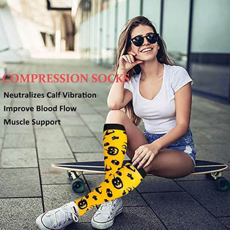 4-Pairs Halloween Stylish Compression Socks 20-25 mmHg for Man and Woman | ACTINPUT-4