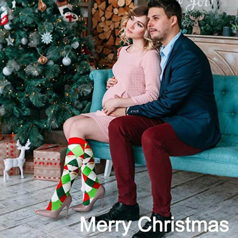 3-Pairs Christmas Fashion Compresssion Socks for Man and Woman -4