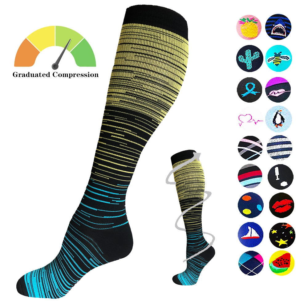 1-Pair Gradient Compression Socks ( 20-30MMHG) | Actinput