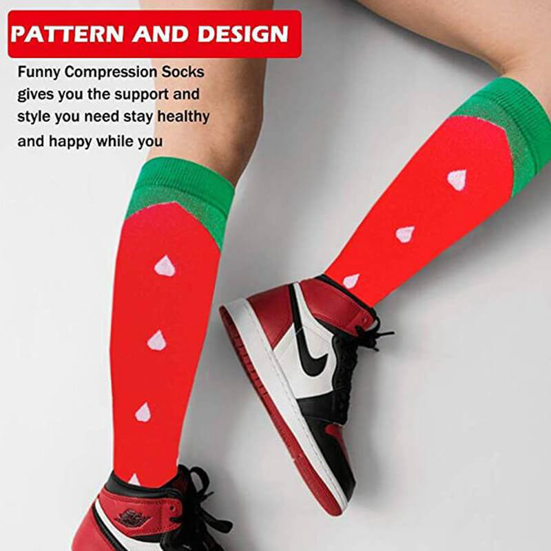 3-Pairs Fruit Print Stylish Compression Socks 20-25 mmHG For Man and Woman -4