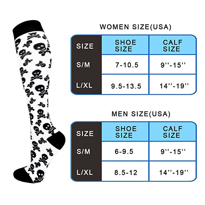 8-Pairs Skull-Print Compression Socks for Man and Woman (20-30 mmHG)| ACTINPUT