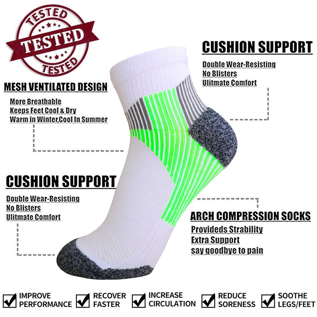 7-Pairs Low Cut Plantar Fasciitis  Compression Socks | Actinput