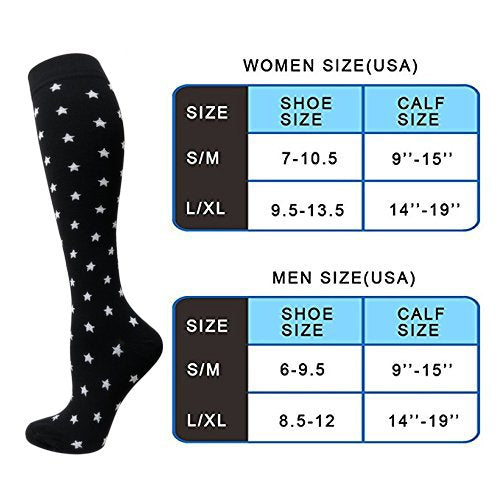 3-Pairs Black-White Compression Socks for Men & Women (20-25 mmHG)| ACTINPUT