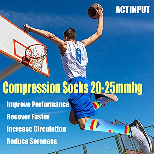 8-Pairs Knee-Length  Pot Pattern Mix  Compression Socks -2