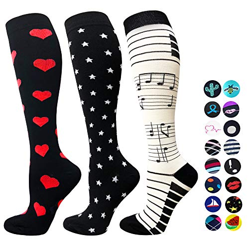 3-Pairs Compression Socks For Men & Women(20-25 mmHG) |Actinput