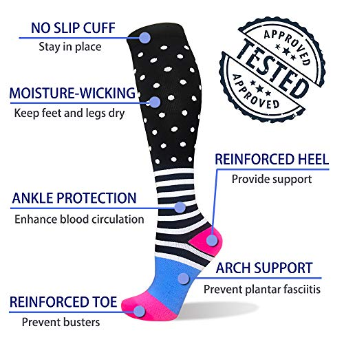 3-Pairs Cute Compression Socks For Men & Women(20-30 mmHG) |Actinput