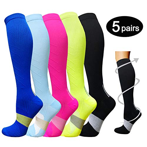 5-Pairs Color Mix Performance Compression Socks -1