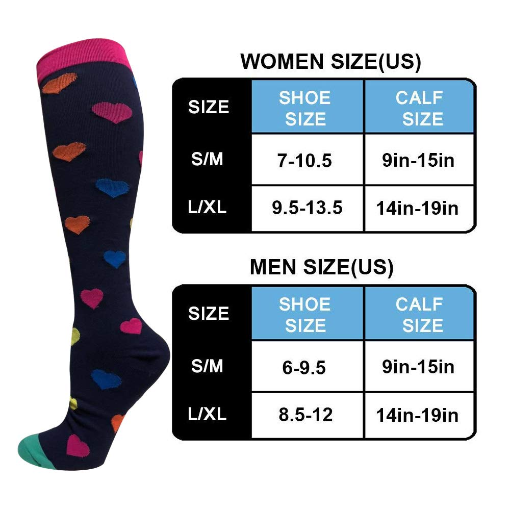 1-Pair Heart Print Compression Socks ( 20-30MMHG) | Actinput