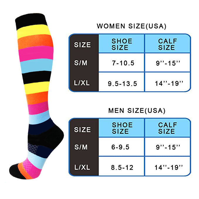 3-Pairs Color Block Compression Socks for Man & Woman(20-25 mmHG) | Actinput