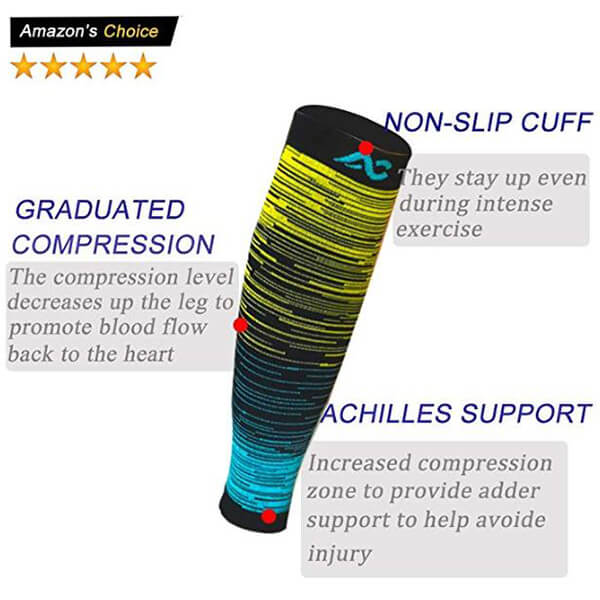 Toeless Fancy Calf Compression Sleeves (20-30mmHg)| ACTINPUT