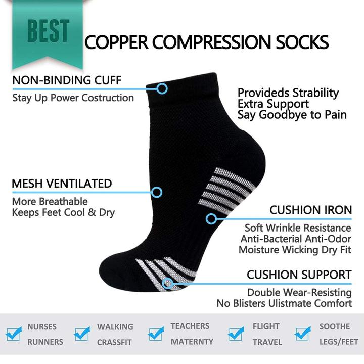 5-Pairs Color Mix Compression Ankle Socks -2