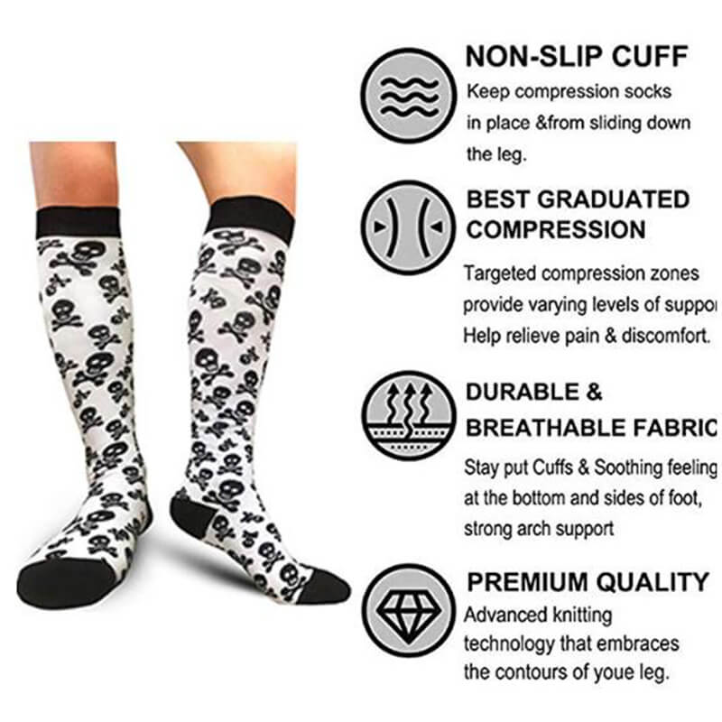 3-Pairs Skeleton Print Compression Socks 20-25 mmHG for Man and Woman -5