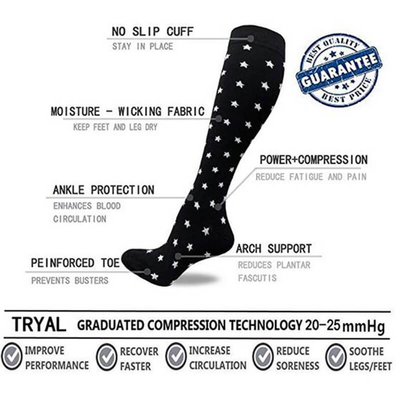 2-Pairs Star Version Compression Socks 20-25 mmHg for Man and Woman | ACTINPUT