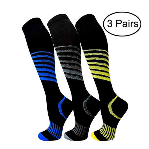 3-Pairs Striped Compression Socks for Man and Woman -1