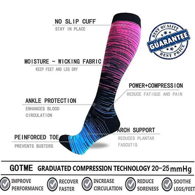3-Pairs Gradient Copper Compression Socks For Men & Women-5