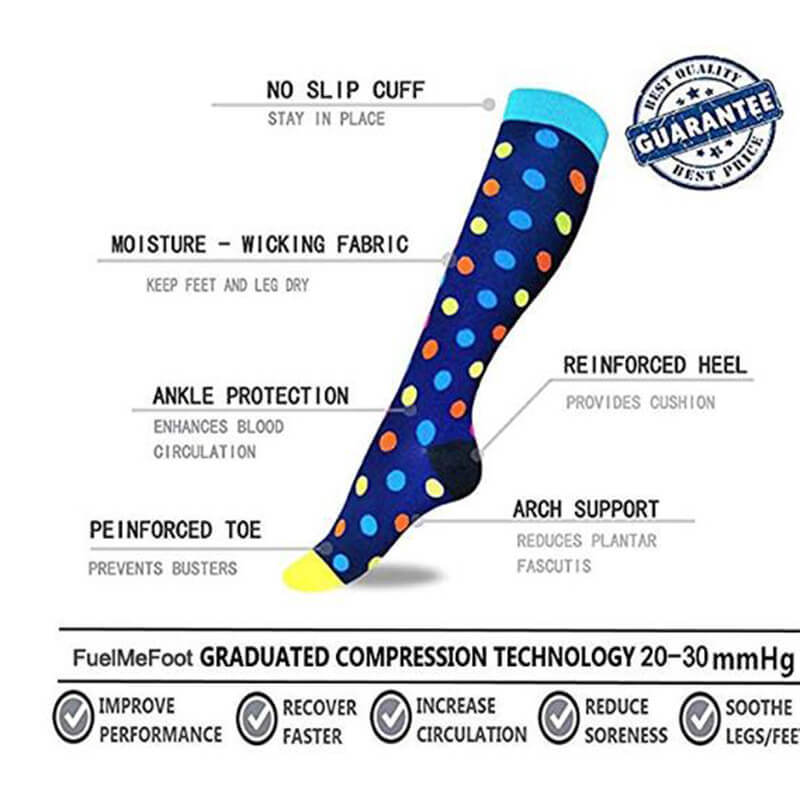 7-Pairs Cool Fashion Compression Socks 20-25 mmHg for Man and Woman | ACTINPUT