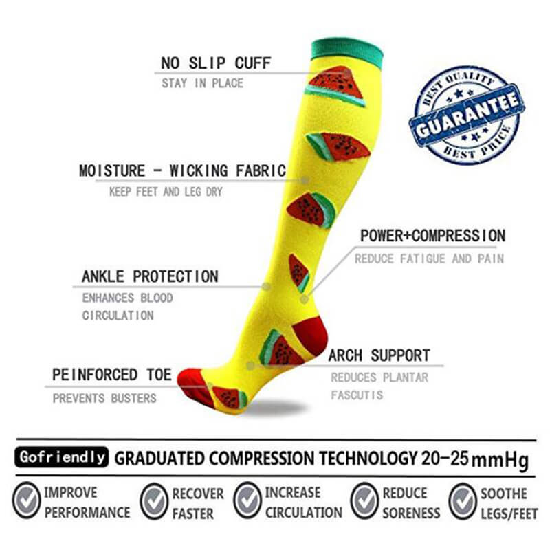 1-Pair Watermelon Print Compression Socks 20-25mmHg for Man and Woman-5