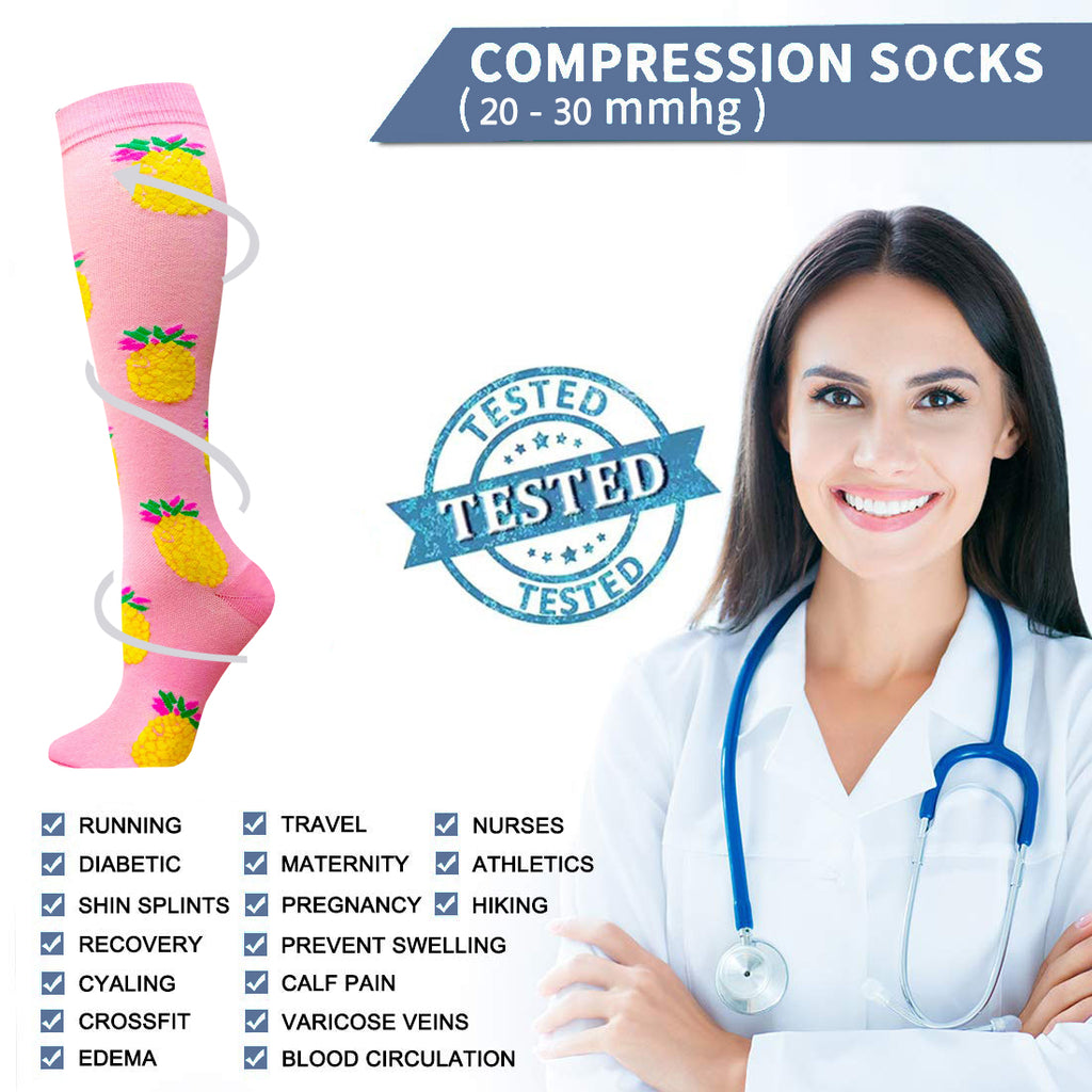 4-Pairs Cute Compression Socks for Man and Woman (20-30 mmHG)| ACTINPUT