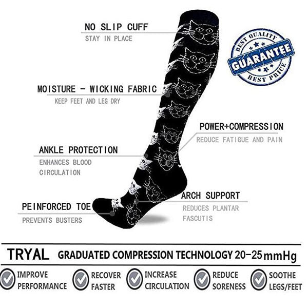 3-Pairs Cute Stylish Compression Socks 20-25 mmHG for Woman&Man | ACTINPUT