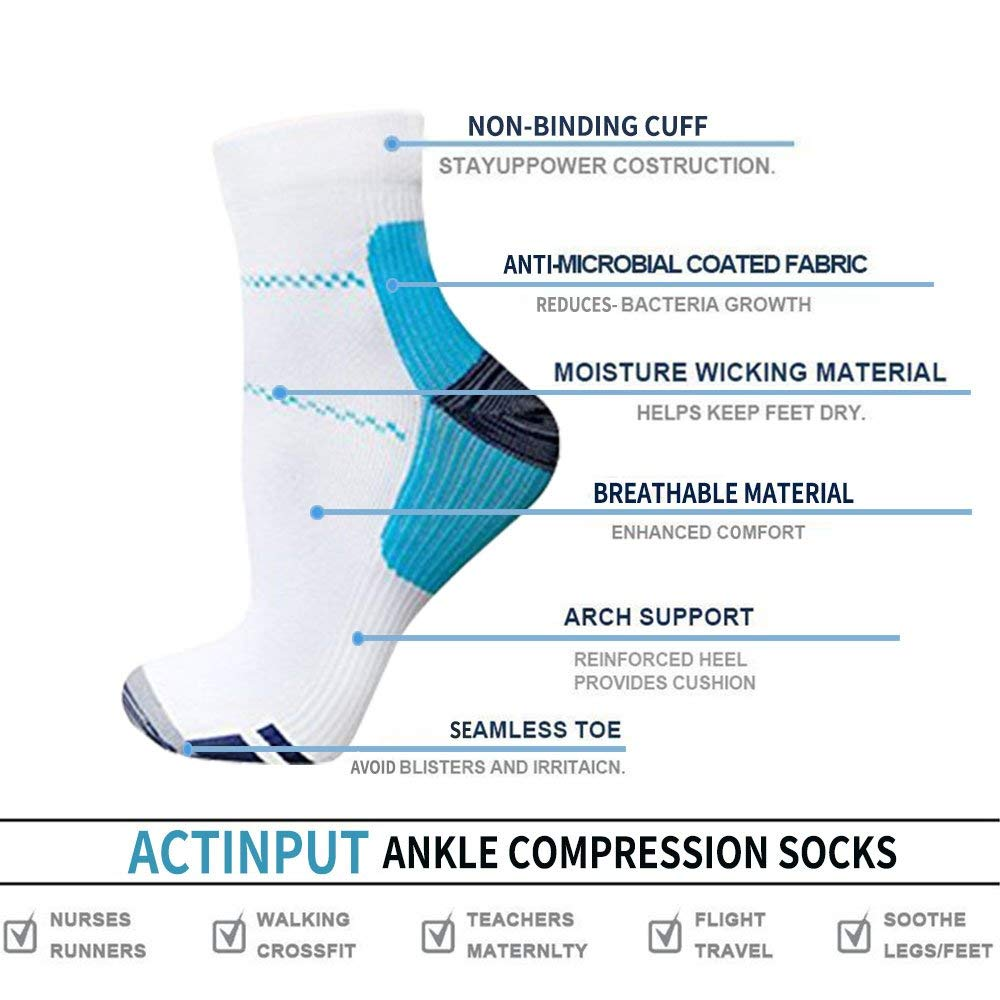 7-pairs Athlete-Plantar Fasciitis Support Ankle Socks | Actinput