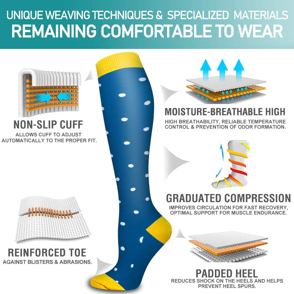 6-Pairs Fun Compression Socks for Man and Woman(20-30 mmHG) | ACTINPUT