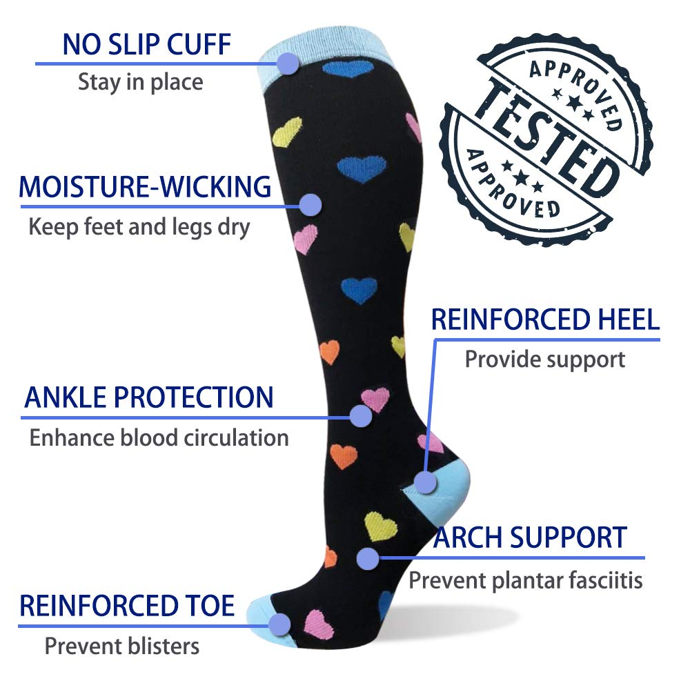 6-Pairs Compression Socks For Men & Women (20-25mmHG)| Actinput