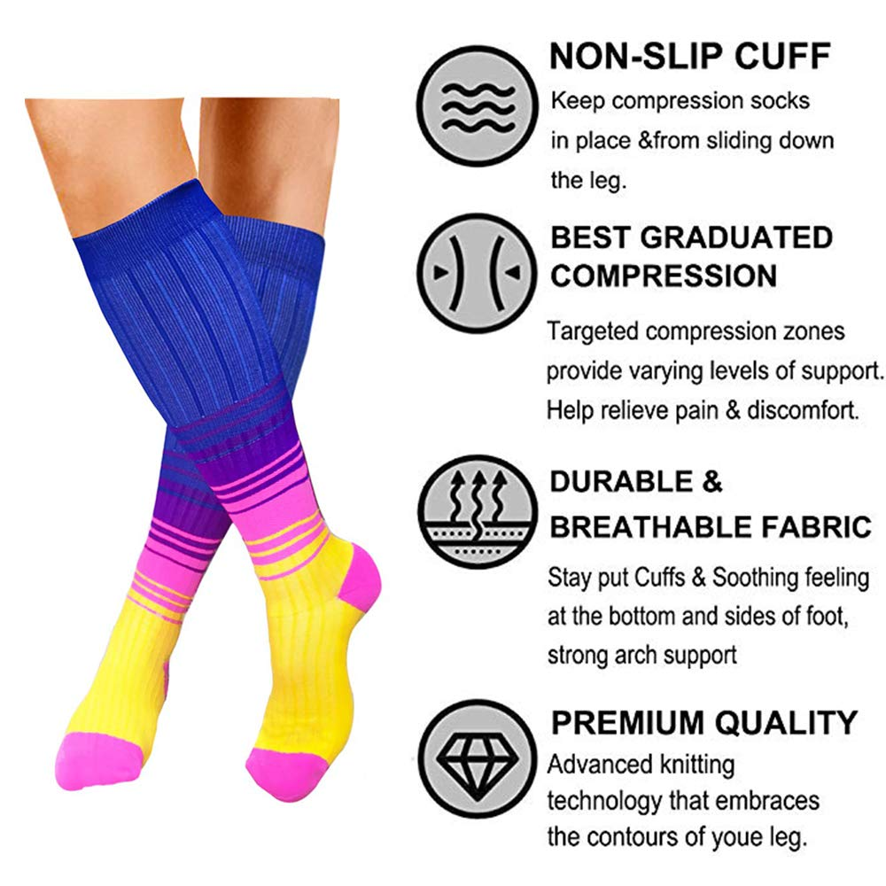 3-Pairs Cool Fashion Compression Socks(20-30 mmHG) | Actinput