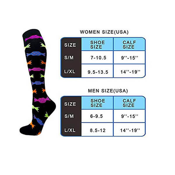 3-Pairs Cute Stylish Compression Socks 20-30 mmHG for Woman&Man | ACTINPUT