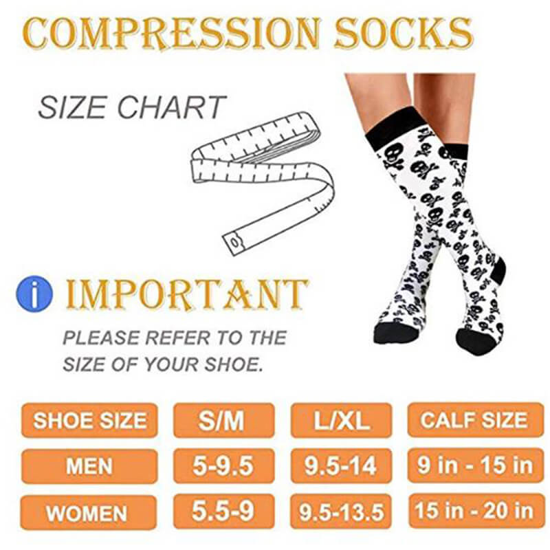 3-Pairs Skeleton Print Compression Socks 20-25 mmHG for Man and Woman 6