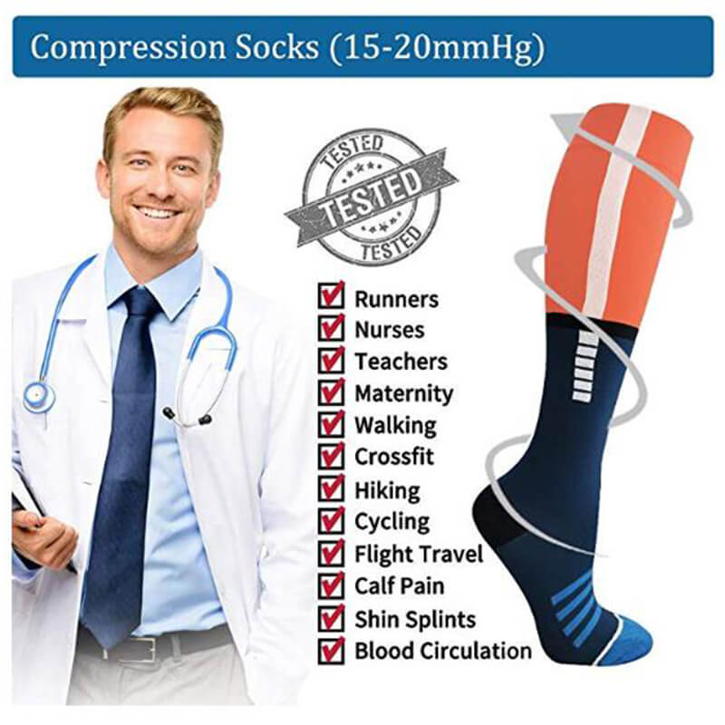 3-Pairs Color Block Compression Stockings 20-25 mmHg for Man and Woman-6