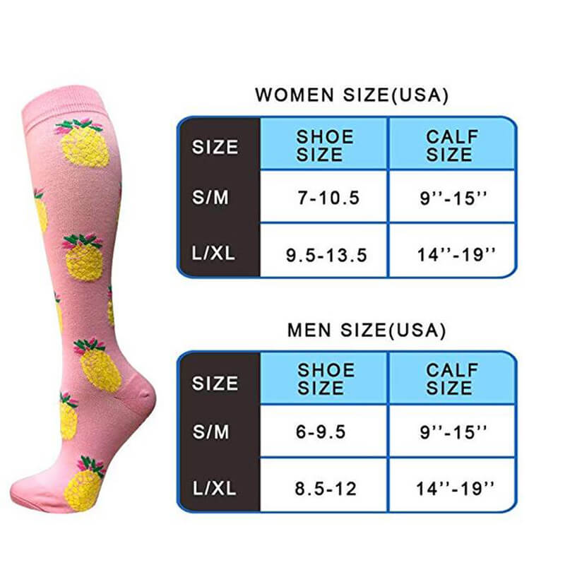 3-Pairs Fruit Print Stylish Compression Socks 20-25 mmHG For Man and Woman -6