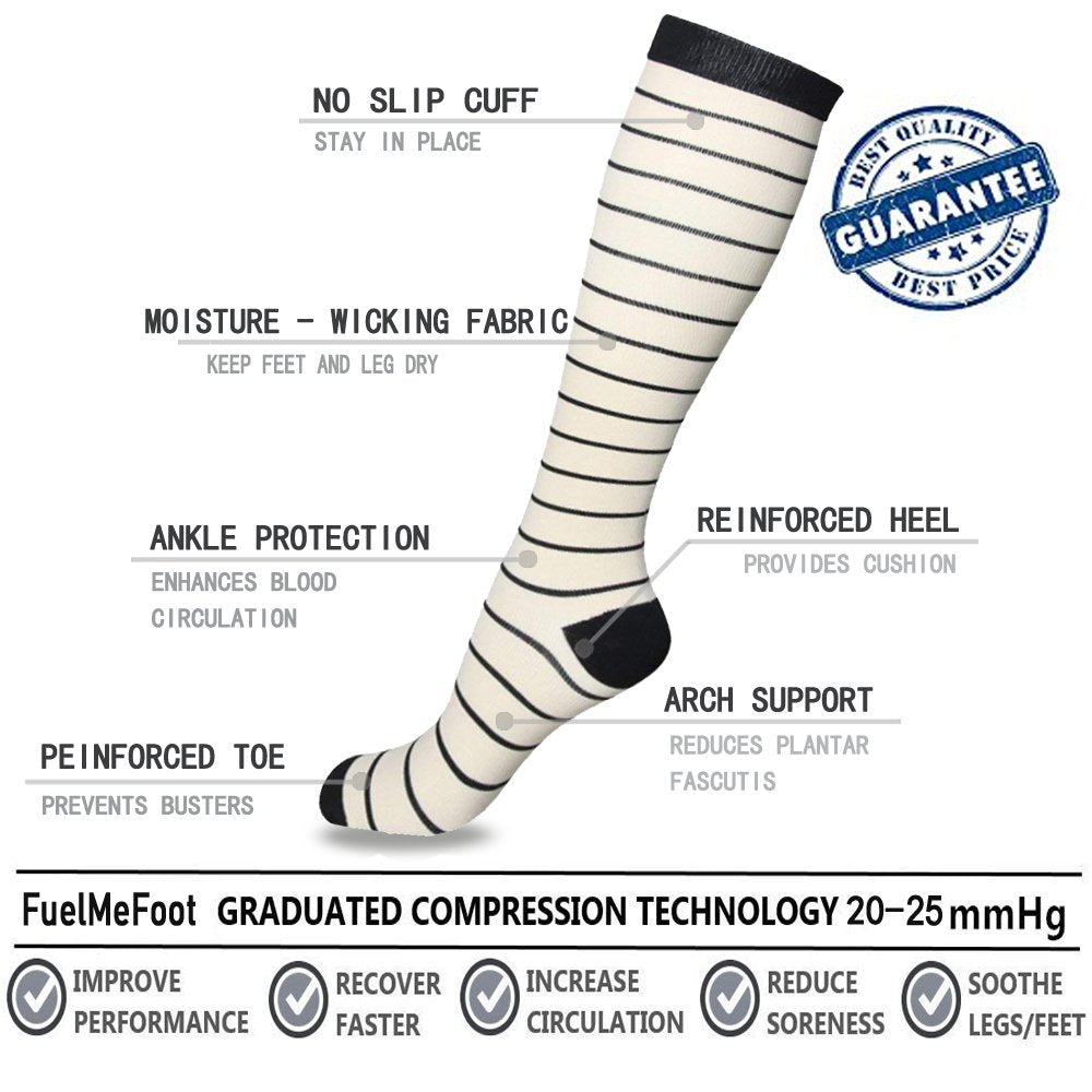 3-Pairs Black/White Compression Socks for Men & Women (20-30 mmHG)| ACTINPUT