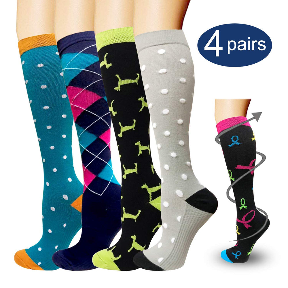 4-Pairs Sports Compression Socks by Actinput -1