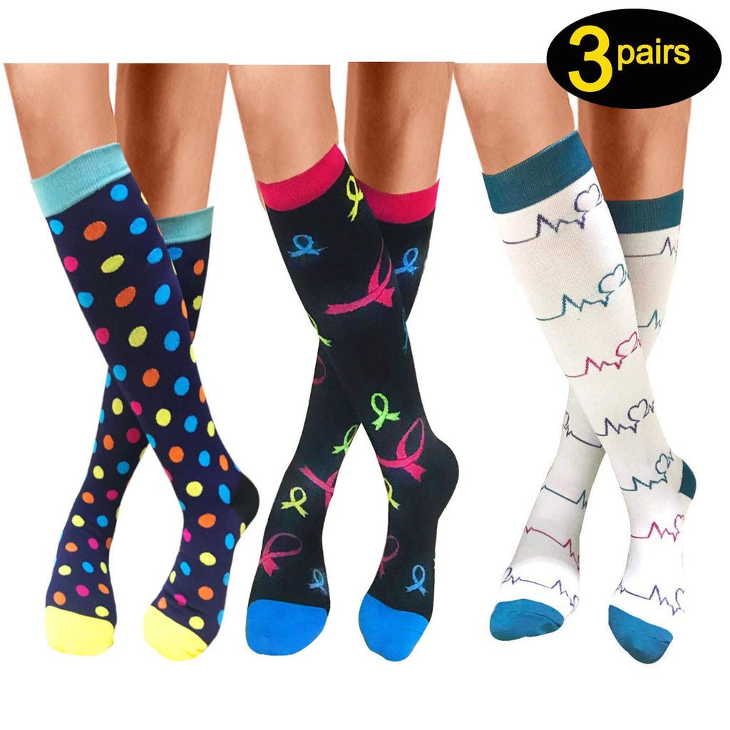 Color mixed-3Pairs Compression Socks by Actinput