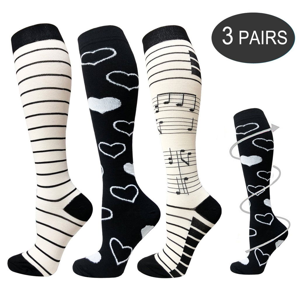 3-Pairs Heart Print Compression Socks for Men & Women(20-25 mmHG)| ACTINPUT