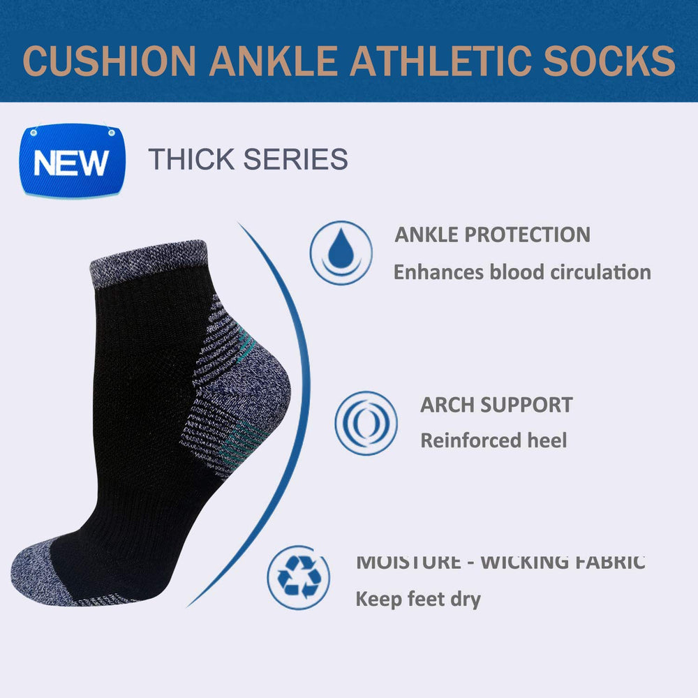 7-Pairs Men's Ankle Athletic Sock Cotton Performance Comfort Low Cut Running Cushioned Socks | Actinput