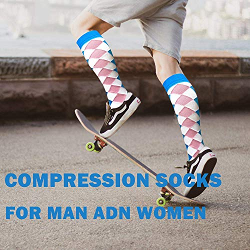 3-Pairs White Mix Fashion Compression Socks (20-25 mmHG)| Actinput