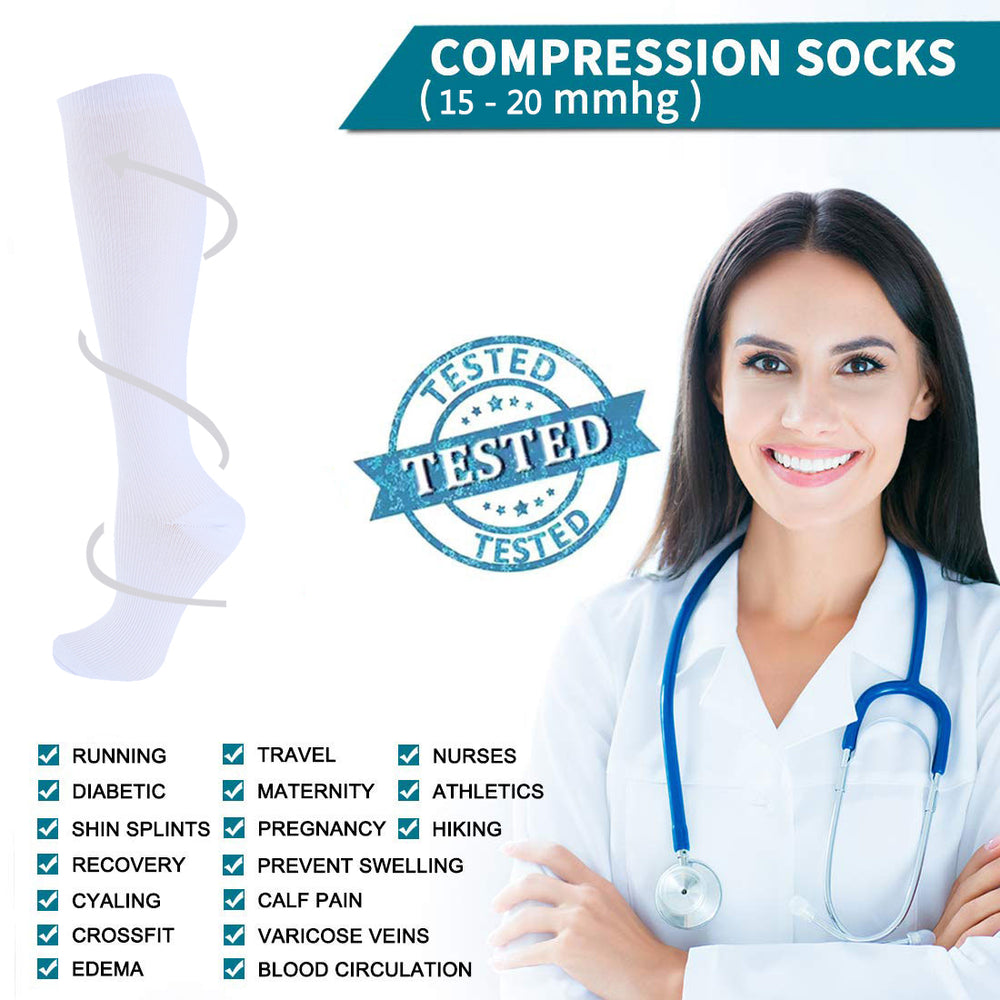 8-Pairs Black-White Compression Socks for Man and Woman (20-30 mmHG)| ACTINPUT