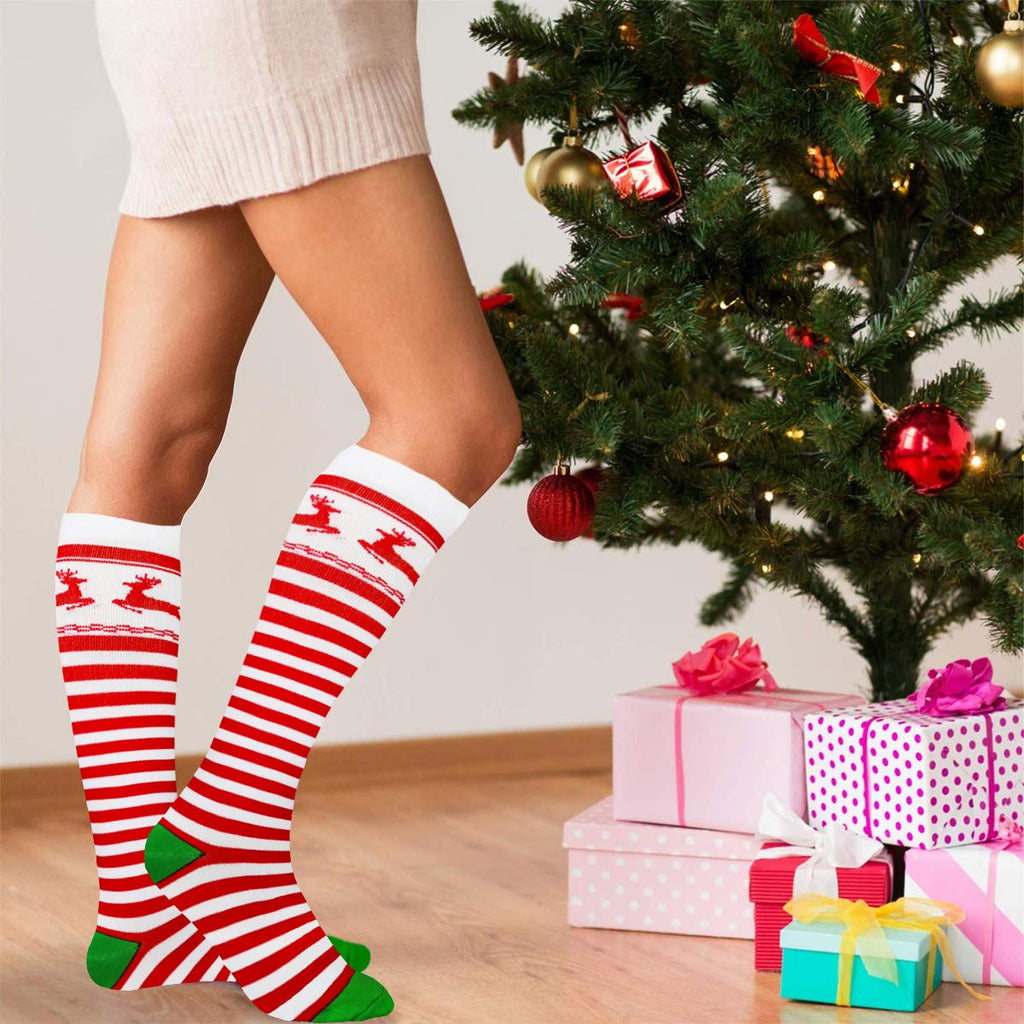 3-Pairs Christmas Compression Stockings 20-25 mmHg for Man and Woman | ACTINPUT