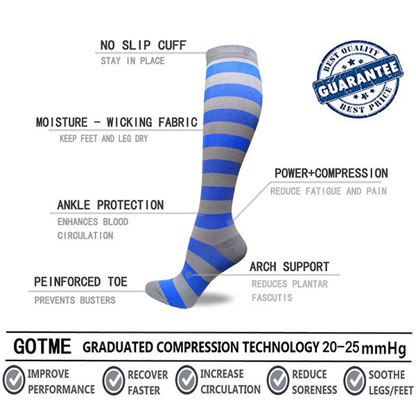 3-Pairs Stylish Compression Socks for Man and Woman(20-25 mmHG)| Actinput