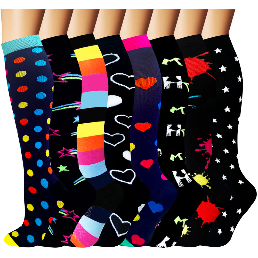 8-Pairs Cool Design Compression Socks for Man and Woman (20-30 mmHG)| ACTINPUT