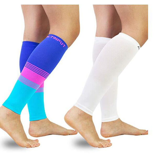Muticolor & White Compression Calf Sleeves
