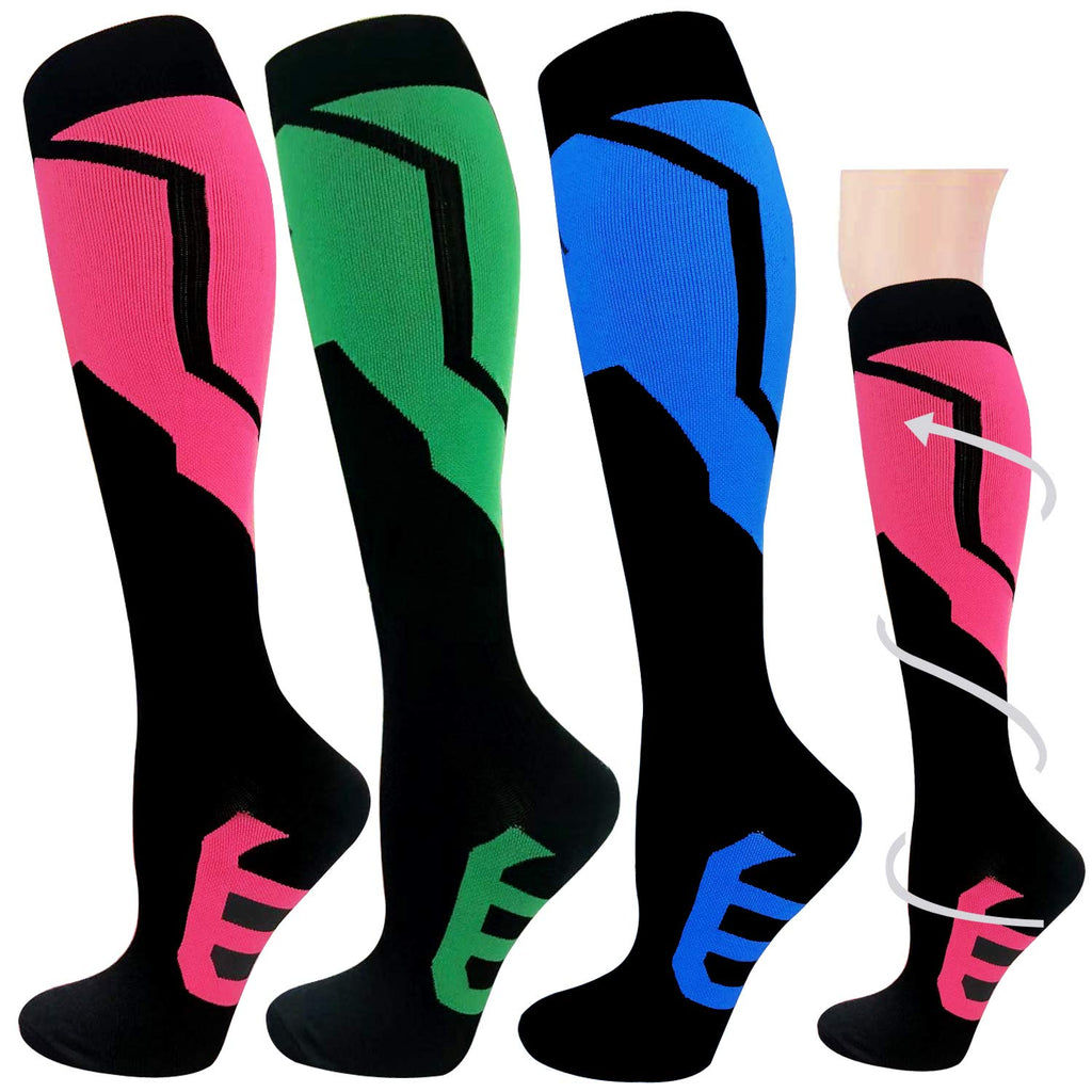 3-Pairs Colorful Compression Socks Women & Men (20-25 mmHG) | Actinput