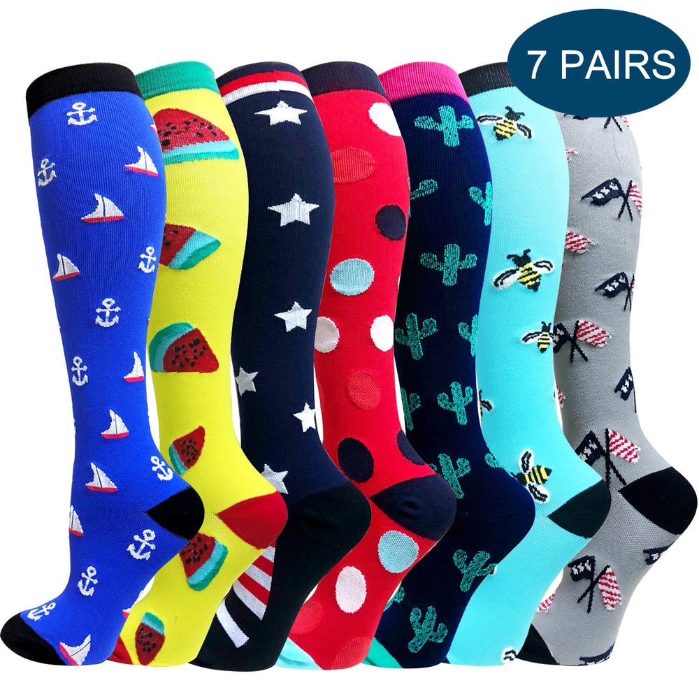 7-Pairs Cute Compression Socks (20-30mmHg) for Women&Men | ACTINPUT